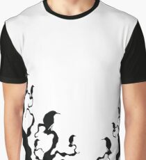 Crows and Trees - Black Print Graphic T-Shirt