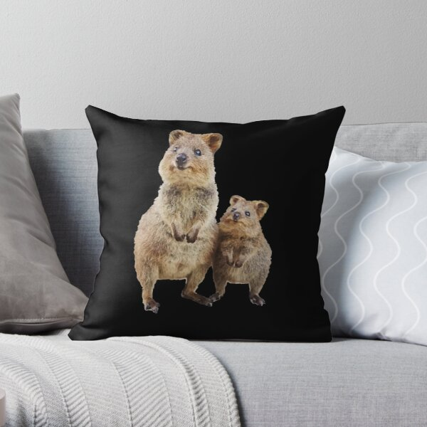 Quokka with Baby Cute Australian Teddy Bear Throw Pillow