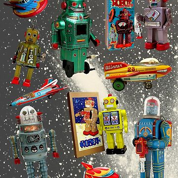 Retro Toy Robots  and Rockets on Starry Sky by WigOutlet