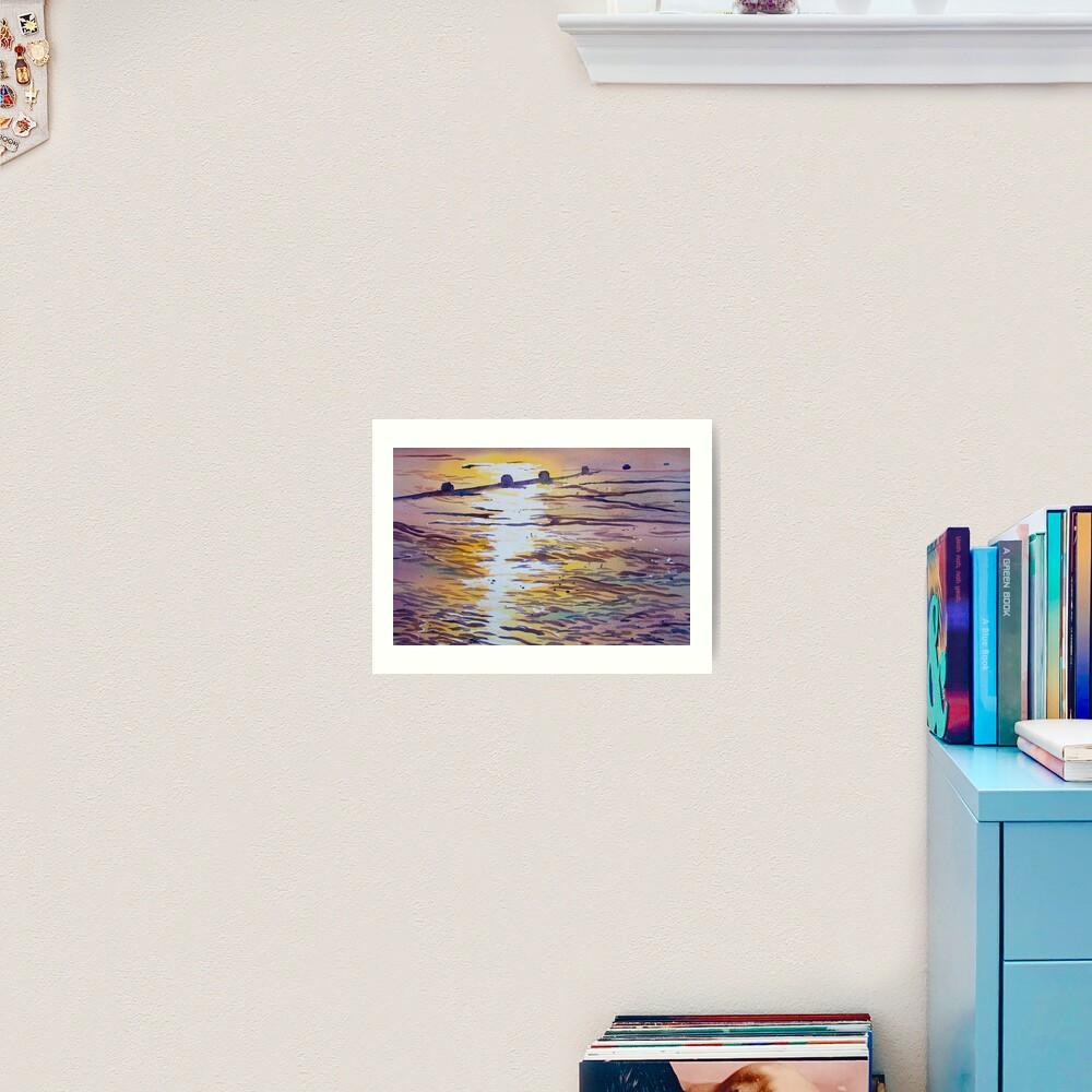 Groynes and Glare Art Print