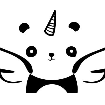 PandiCorn With Wings Black Logo Design by 108dragons