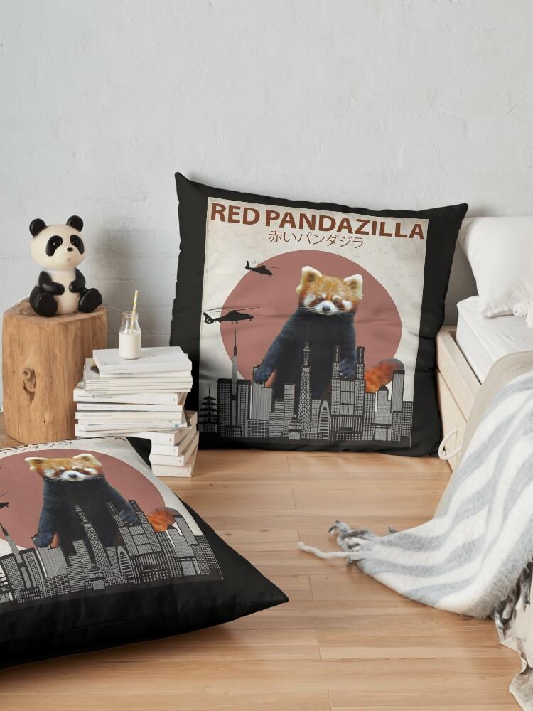 Alternate view of Red Pandazilla Red Panda Giant Monster Parody Floor Pillow
