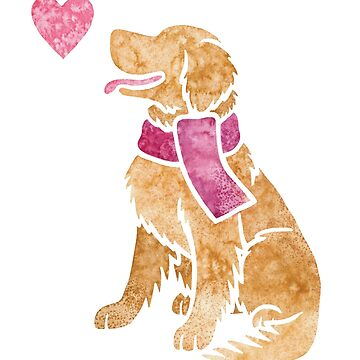 Watercolour Golden Retriever (2) by animalartbyjess