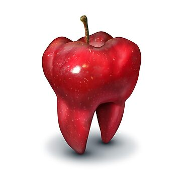 Dentist Dental Health Concept as an apple shaped as a molar tooth by lightidea
