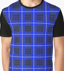 Scotland Woodcutter Buffalo Check Design - Dark Blue Color Model Graphic T-Shirt