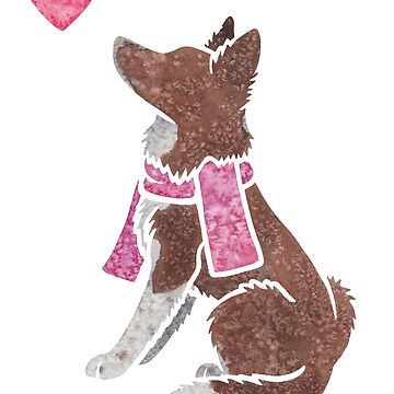 Watercolour Border Collie (red) by animalartbyjess