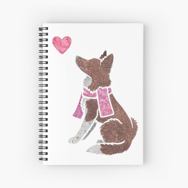 Watercolour Border Collie (red) Spiral Notebook