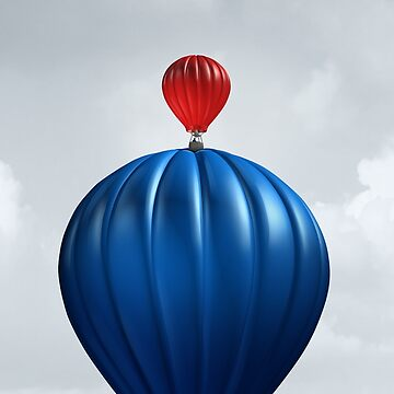 Motivational Concept as a hot air balloon Conquering a large competitor as a creative surreal conceptual idea to motivate and inspire. by lightidea