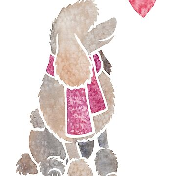 Watercolour Poodle (cafe au lait) by animalartbyjess