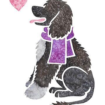 Watercolour Portuguese Water Dog by animalartbyjess