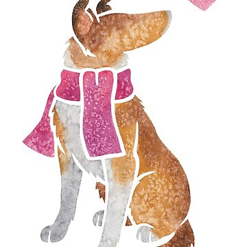 Watercolour Smooth Collie dog by animalartbyjess