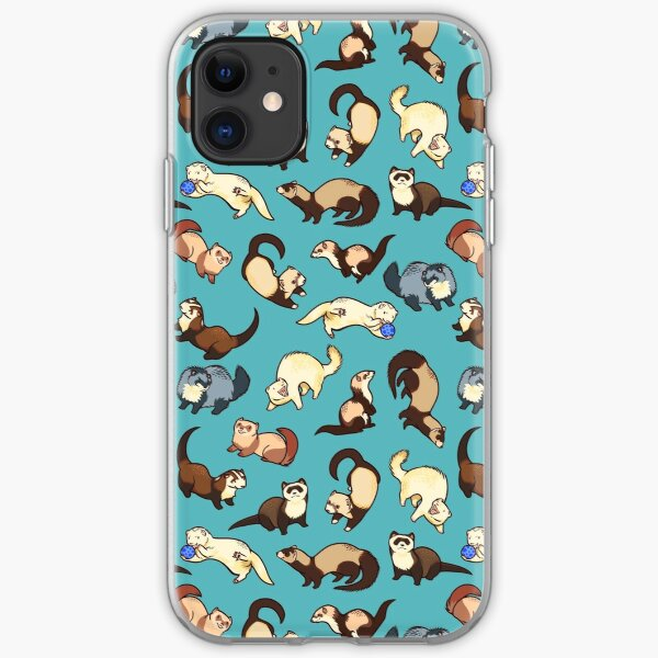 cat snakes in blue iPhone Soft Case