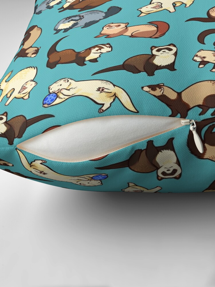 Alternate view of cat snakes in blue Throw Pillow