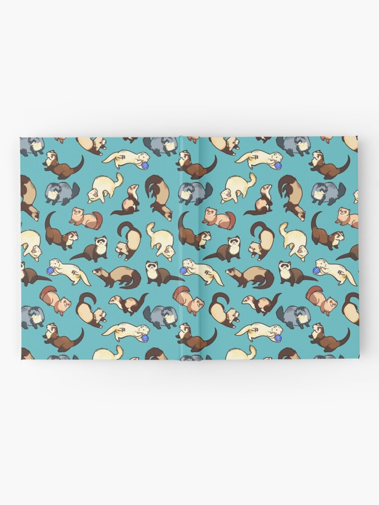 Alternate view of cat snakes in blue Hardcover Journal