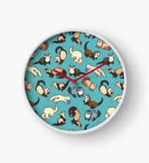 cat snakes in blue Clock