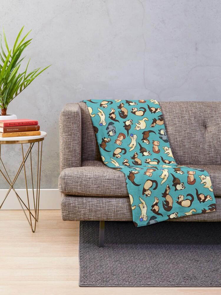 Alternate view of cat snakes in blue Throw Blanket