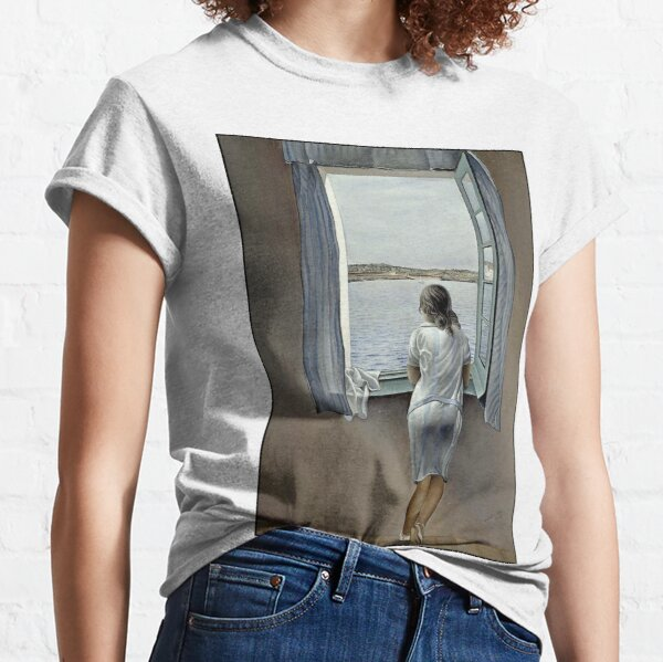 WOMAN IN THE WINDOW : Vintage 1925 Dali Painting Print Classic T-Shirt