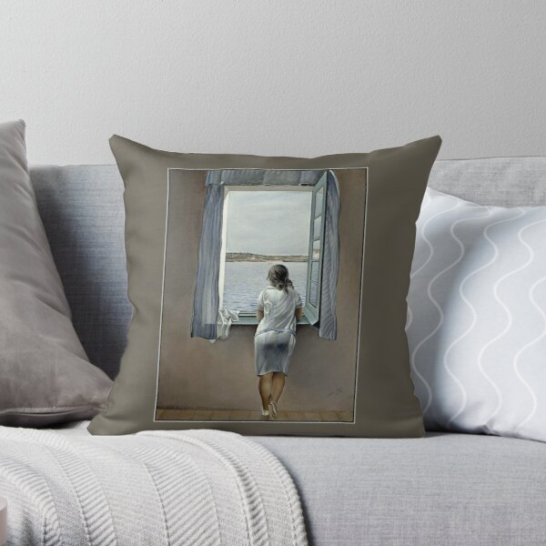 WOMAN IN THE WINDOW : Vintage 1925 Dali Painting Print Throw Pillow
