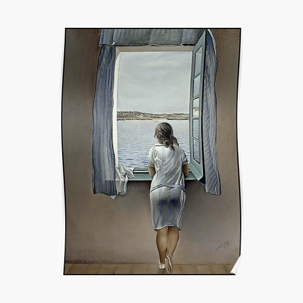 WOMAN IN THE WINDOW : Vintage 1925 Dali Painting Print Poster