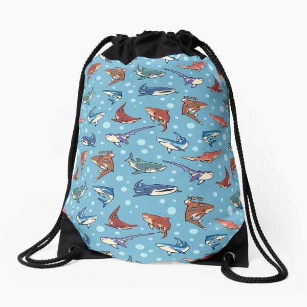 Sharks in the light blue Drawstring Bag
