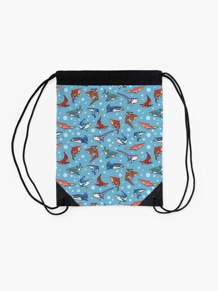 Alternate view of Sharks in the light blue Drawstring Bag