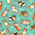 Jolly corgis in green by Colordrilos