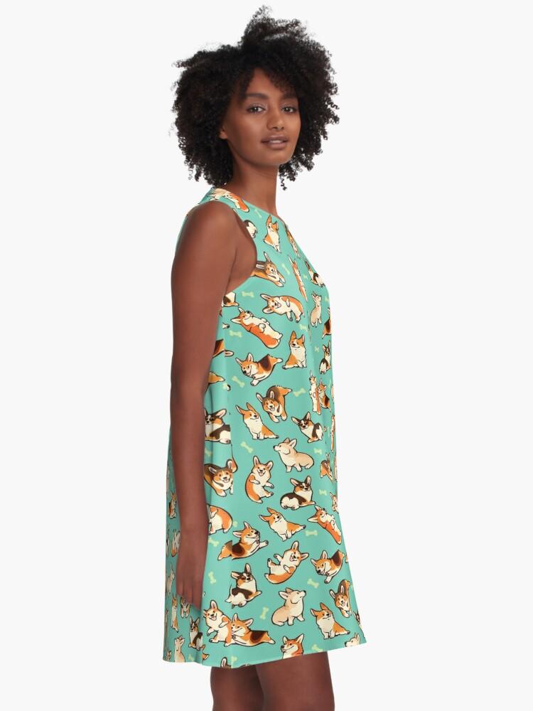 Alternative Ansicht von Jolly Corgis in grün A-Linien Kleid
