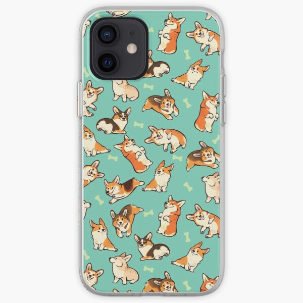 Jolly corgis in green iPhone Soft Case