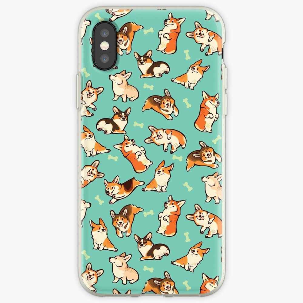 Jolly corgis in green iPhone Cases & Covers