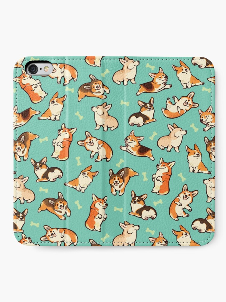 Alternate view of Jolly corgis in green iPhone Wallet