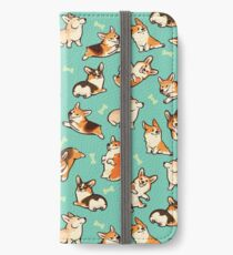 Jolly corgis in green iPhone Wallet/Case/Skin