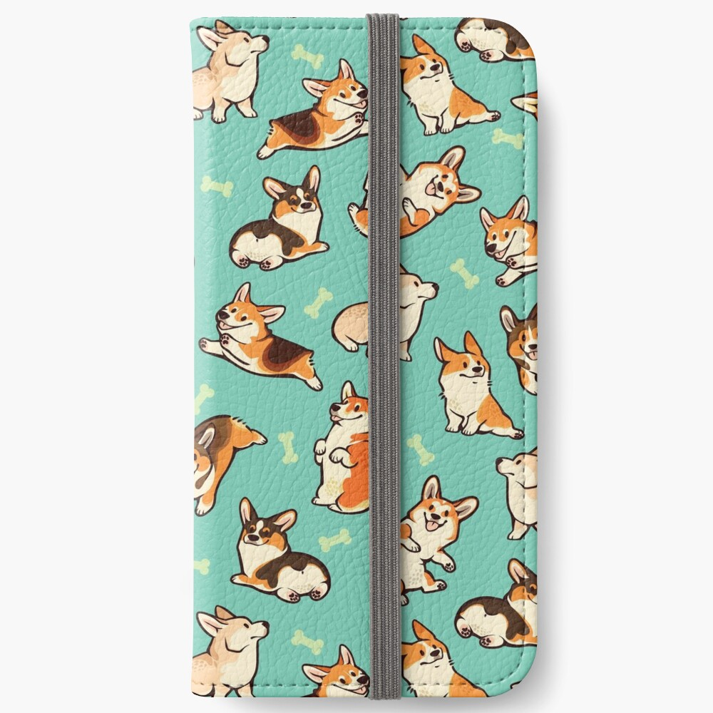 Jolly corgis in green iPhone Wallet