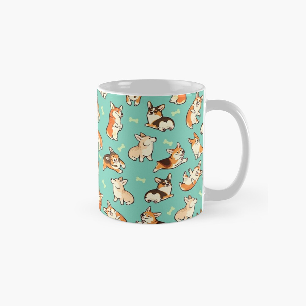 Jolly corgis in green Mug