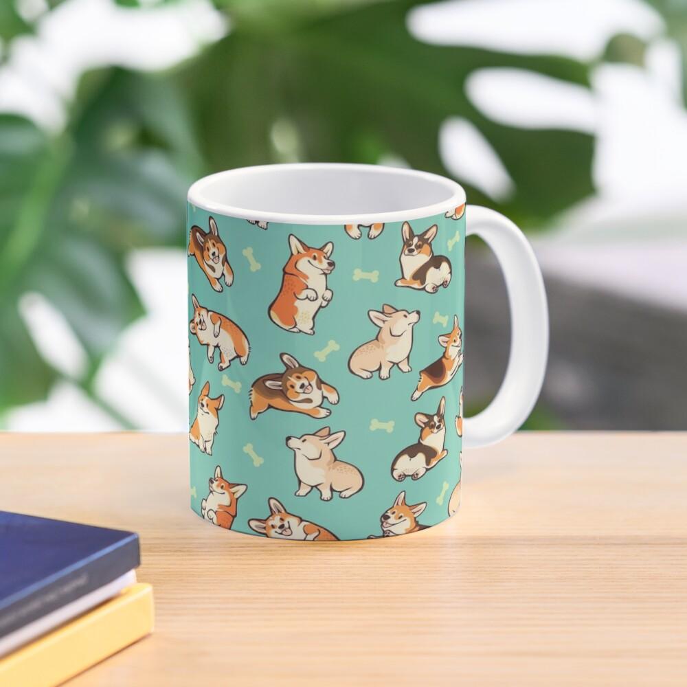 Jolly corgis in green Mug