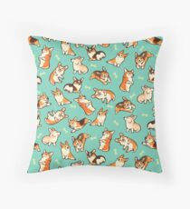 Jolly corgis in green Throw Pillow