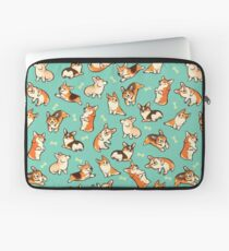 Jolly corgis in green Laptop Sleeve