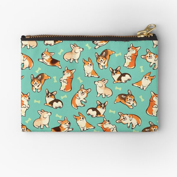 Jolly corgis in green Zipper Pouch