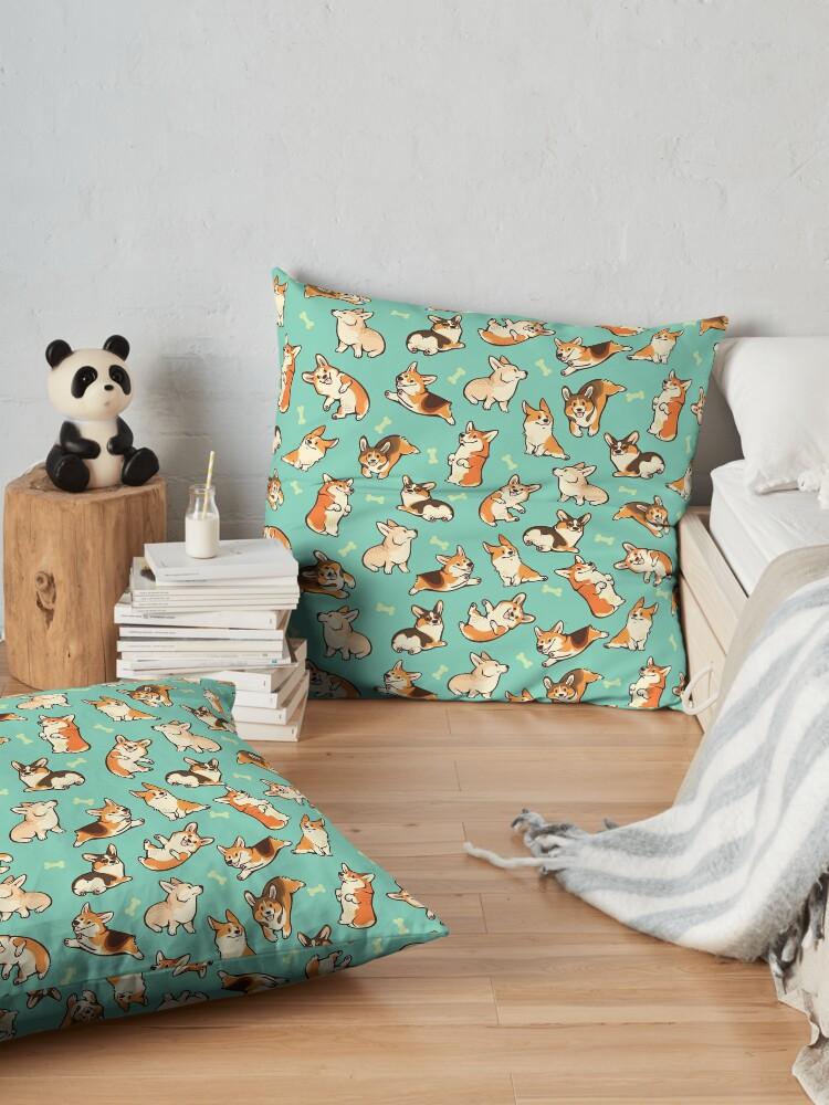 Alternate view of Jolly corgis in green Floor Pillow