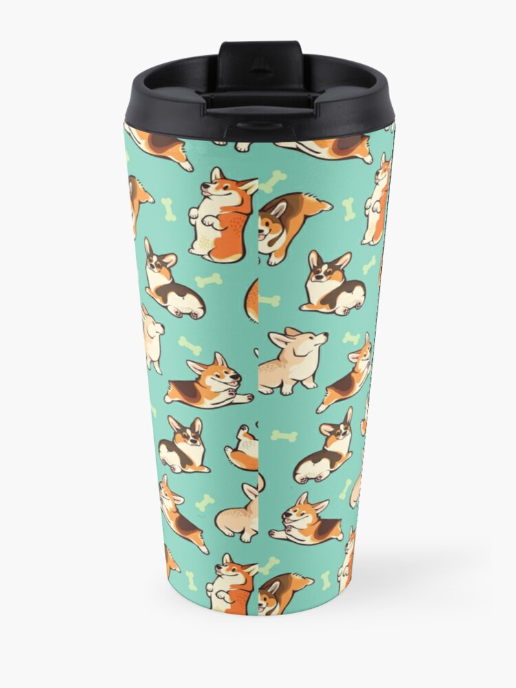 Alternate view of Jolly corgis in green Travel Mug