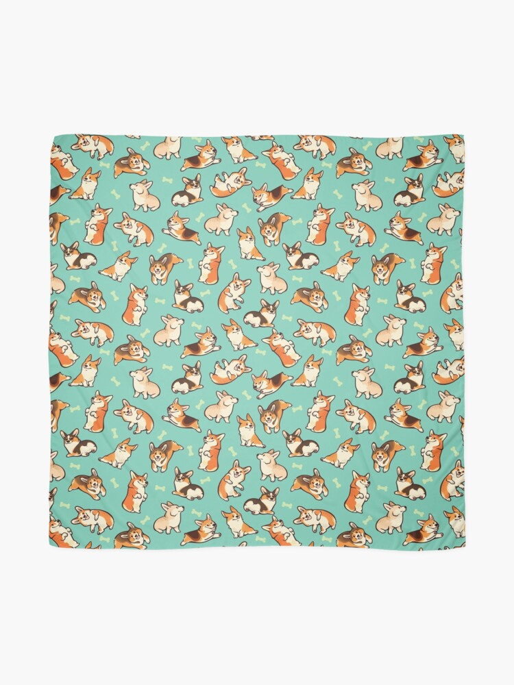 Alternate view of Jolly corgis in green Scarf