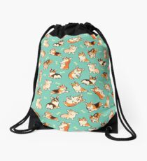 Jolly corgis in green Drawstring Bag
