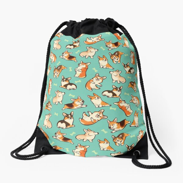 Jolly corgis in green Drawstring Bag