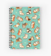 Jolly corgis in green Spiral Notebook