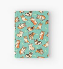 Jolly corgis in green Hardcover Journal