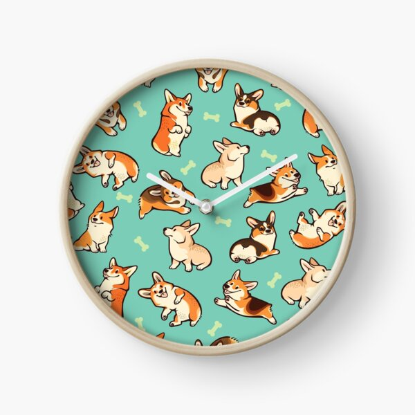 Jolly corgis in green Clock