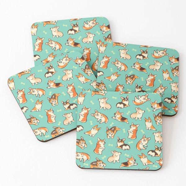 Jolly corgis in green Coasters (Set of 4)