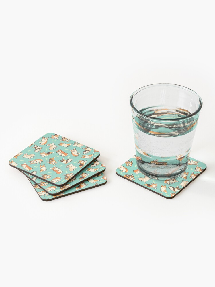 Alternate view of Jolly corgis in green Coasters (Set of 4)