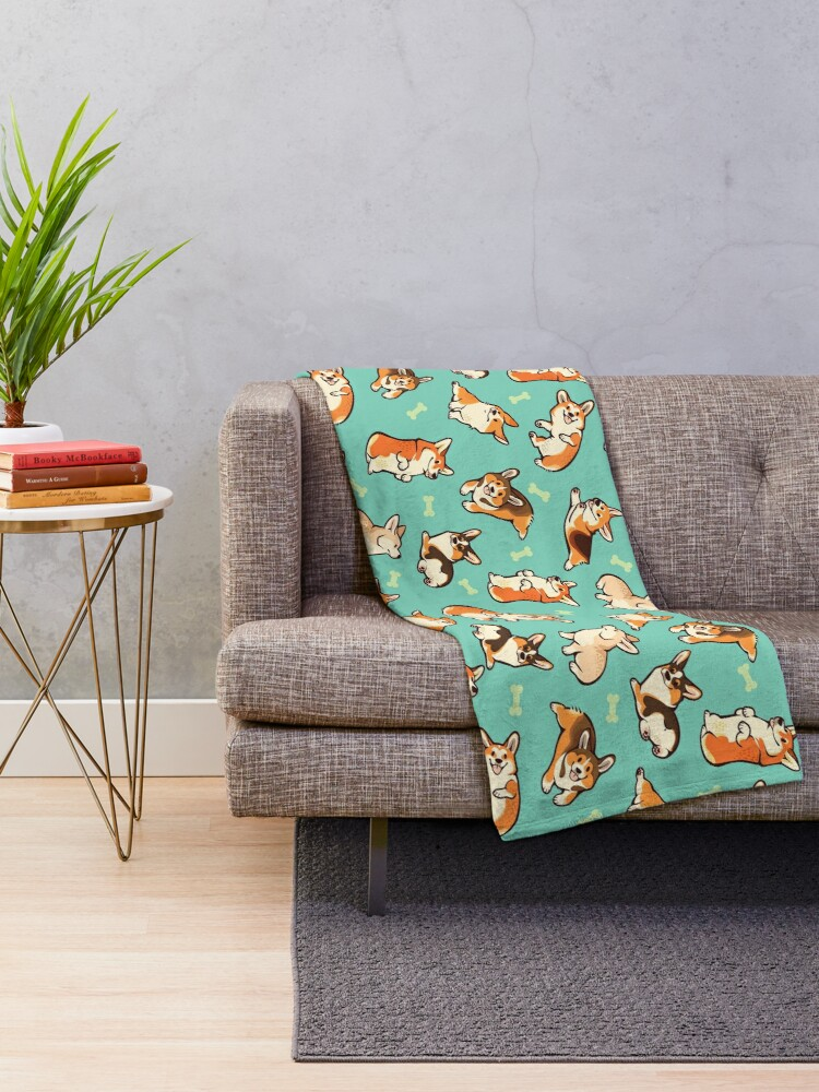 Alternate view of Jolly corgis in green Throw Blanket