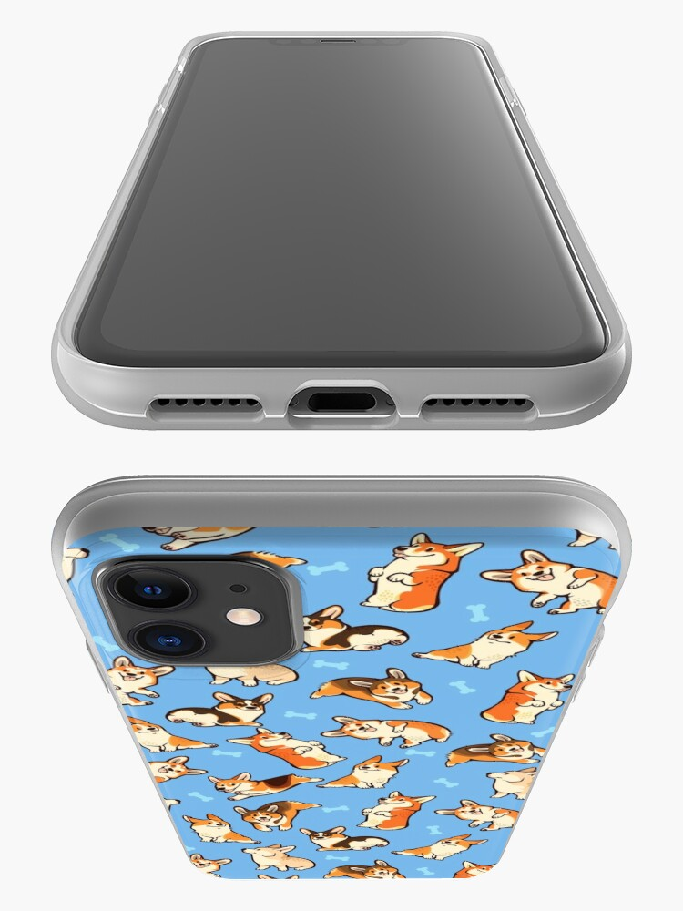 Alternate view of Jolly corgis in blue iPhone Case & Cover