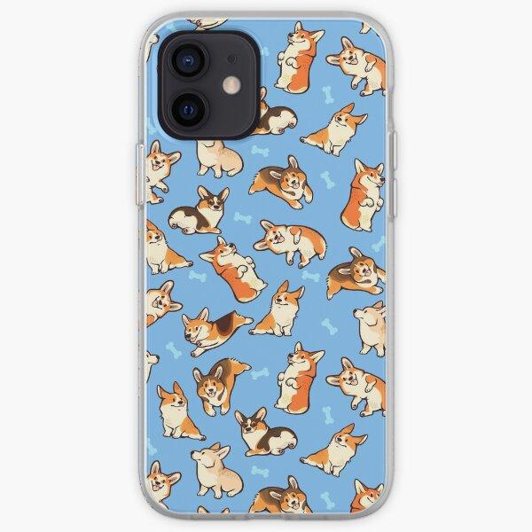 Jolly corgis in blue iPhone Soft Case